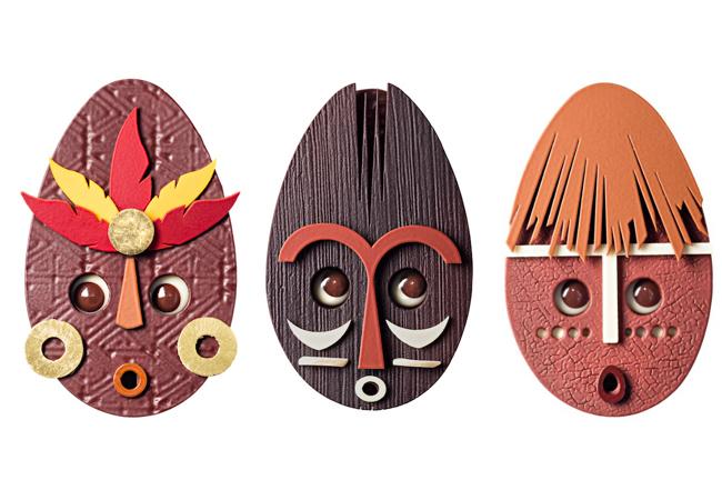 左から マスク ブラジル、マスク ガーナ、マスク ジャワ 各¥5,000 ※なくなり次第終了