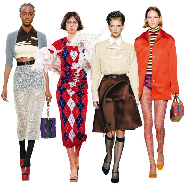 (左から)Miu Miu、Y/project、Prada、Versace