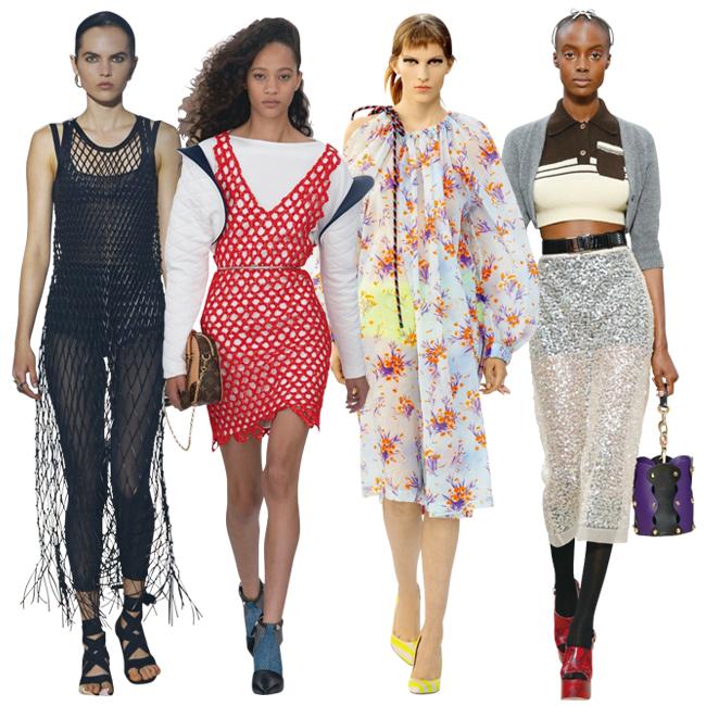 (左から)Dior、Louis Vuitton、Dries Van Noten、Miu Miu