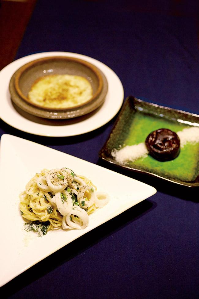夕食は18時半から。全8皿のコース料理で、メインのパスタは麺もシェフのベンさんの手作り。