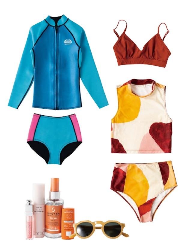 スイムウェアはAssembly Label、Hakea Loなどオーストラリアのブランドが気分。UVケア用品は、ビーチに欠かせない。