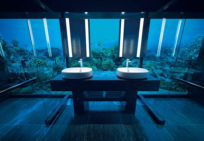 ダブルシンクの左がトイレ、右がシャワー。水中でシャワーを浴びるのは不思議な感じ。