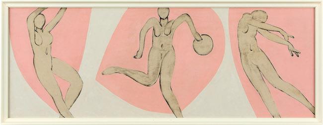 猪熊弦一郎『無題』1948-49年頃 油彩、板(3枚組の一部) 個人蔵  ©公益財団法人ミモカ美術振興財団
