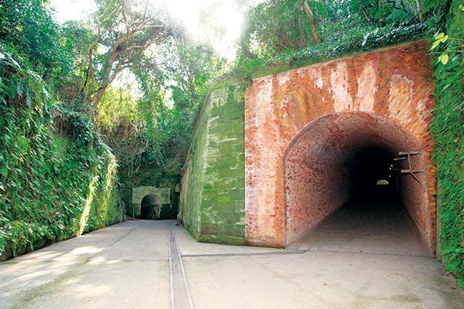 猿島にて、レンガ積みの砲台の遺構と自然が対比を見せる三差路。
