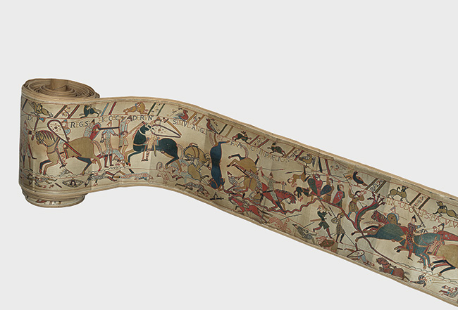 Photograph of the Bayeux Tapestry, 1873, Cundall & Co., hand-painted Woodburytype © Victoria and Albert Museum, London