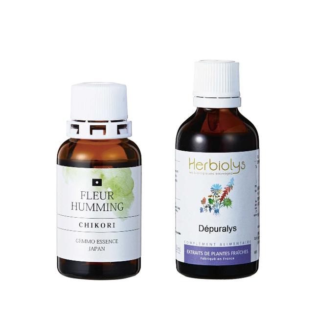 (左)植物ホルモン、ビタミンや酵素などの植物幹細胞ならではの成分が凝縮されたエキス。「チコリは年齢特有の悩みに寄り添い、心身に溜まった毒素の排出を促してくれます」 F06 チコリ フルーハミング[30ml]¥4,800 (右)不老不死の秘薬といわれるカシスの発酵エキスに、セイヨウタンポポ、クロダイコン、ローズマリーやゴボウなどのデトックスに特化したハーブエキスをブレンド、内側からキレイに。M04 Depuralys デプラリス[50ml]¥8,000/ともにGemmotherapy Store(ジェモセラピーストア)