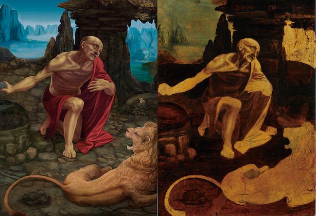 『聖ヒエロニムス』 復元中(左)・現状(右)