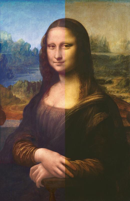 『ラ・ジョコンダ』 復元中(左)・現状(右)