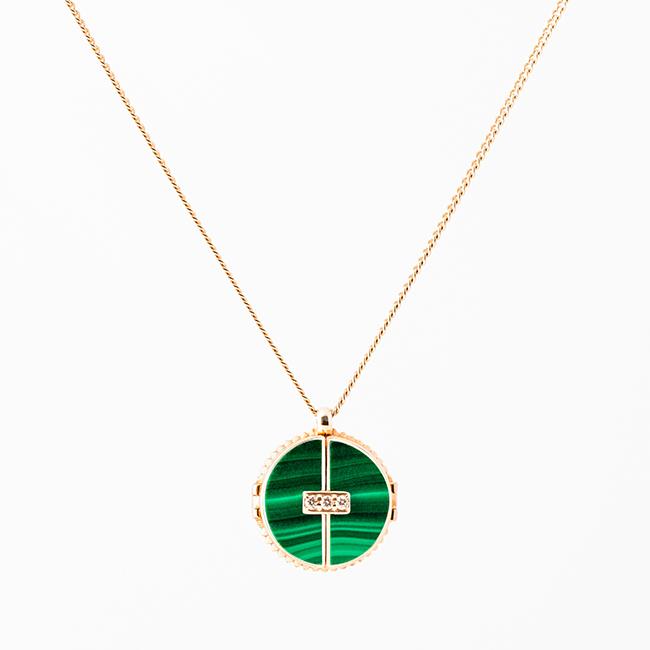ペンダント(ピンクゴールド/マラカイト、ホワイトダイヤモンド)¥ 119,900
