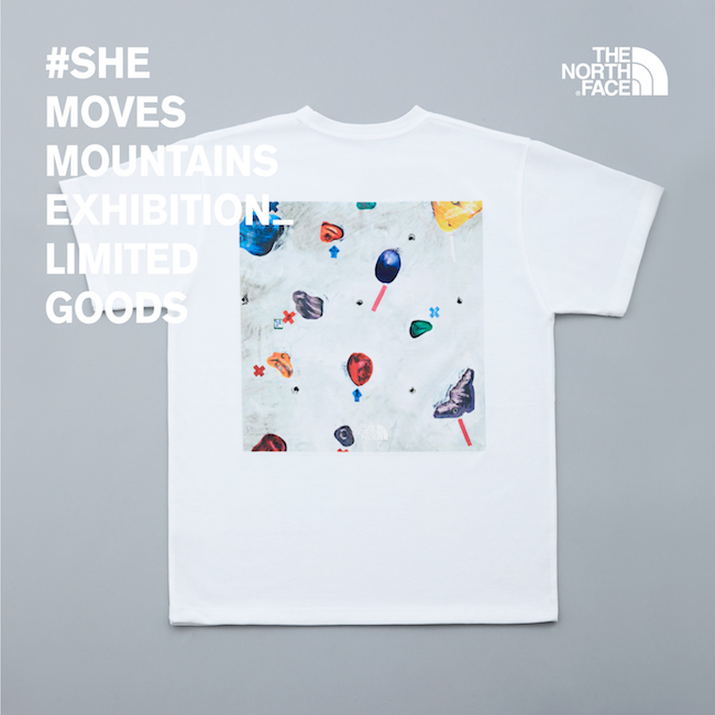 クライミングの壁の柄が背面にプリントされたTシャツ。雪山のプリントとの全2種。 ¥4,800