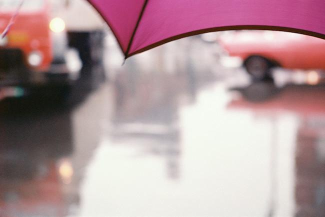 ソール・ライター 《薄紅色の傘》 1950年代、発色現像方式印画 ⒸSaul Leiter Foundation