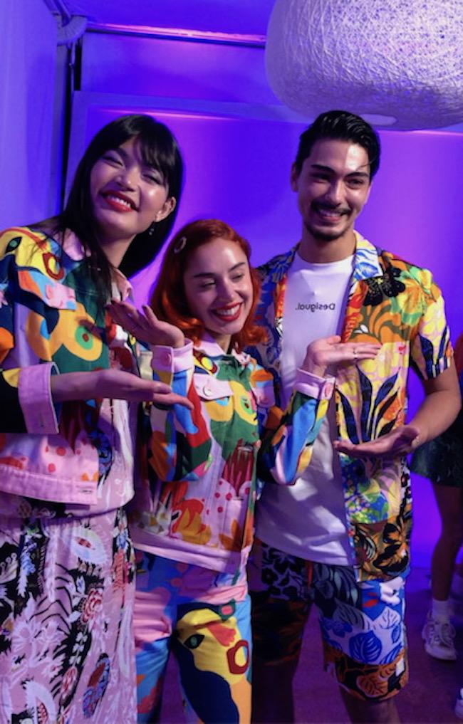 日本から一緒に参加した、モデルの石倉ノアさんとミランダを囲んで。