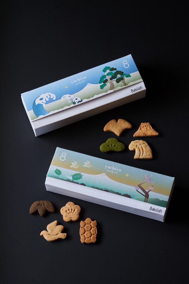 上:yachiyo 晴(山椒、酒粕、抹茶、ゆず)アソートパック 下:yachiyo 壽(ほうじ茶、うめ、生姜、八丁味噌)アソートパック 各¥1,900