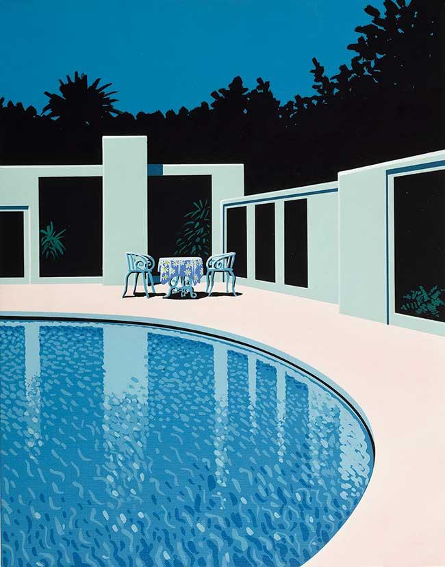 海辺、島、プールなど、「水」をテーマに作品を描いてきた永井博。そこに建築的な要素が加わったプールのイラストは、都会的でありながらどこか懐かしい。