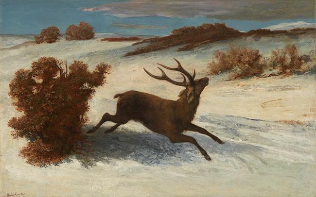 ギュスターヴ・クールベ『雪の中を駆ける鹿』(1856-57年頃)石橋財団アーティゾン美術館蔵