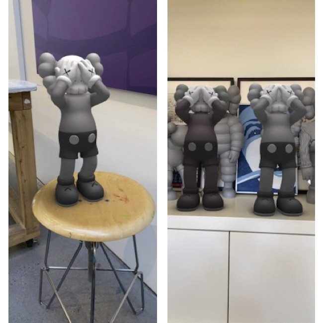 「AT THIS TIME (EXPANDED)」の撮影例。(2020年) augmented reality. Courtesy: KAWS and Acute Art.
