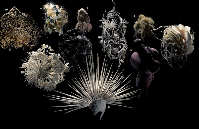 2013年12月号 Photo:Hironobu Maeda 1.4.9.CHANEL(2009SS Couture) ヨーロッパの装飾的な陶器のような立体的な造形を、紙を使って作りました。バラやカメリアなどの花々を模したペーパーフラワーをあしらったヘッドピース。 2.JUNYA WATANABE COMME des G ARÇONS(2005-06AW)ファージャケットが登場したコレクションだったので古着のファーでヘッドピースを作りました。 3.JUNYA WATANABE COMME des GARÇONS(2008-09AW) 服とつながって見えるヘアをというオーダーに、ストレッチ素材でモデルの顔をすべて覆い、布をねじったり、丸みを出したりして構築的なシルエットに。 5.JUNYA WATANABE COMME des GARÇONS(2006SS)鋭く尖った何本もの棘は紙製。パンクをテーマにトレンチのバリエーションが数多く登場したので、棘もさまざまな長さや太さのタイプを用意。 6.10.CHANEL(2009PREFALL) メティエダール・コレクション「パリ-モスクワ」より。ロシアのプリンセスが着けていたヘッドピースをイメージして、細かく編み上げたブレイドで模様を作りました。 7.『LOVE MAGAZINE』ファッションエディター、ケイティ・グランドから依頼され制作。黒のイバラを何本か作り、それぞれを絡み合うように成形。 8.JUNYA WATANABE COMME des GARÇONS(2008SS) ミラーを砕いて、形の不揃いな破片を作って一つずつ貼り付けた、ミラーボールをイメージしたヘッドピース。