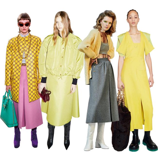 (左から)Gucci、Rochas、Fendi、Bottega Veneta