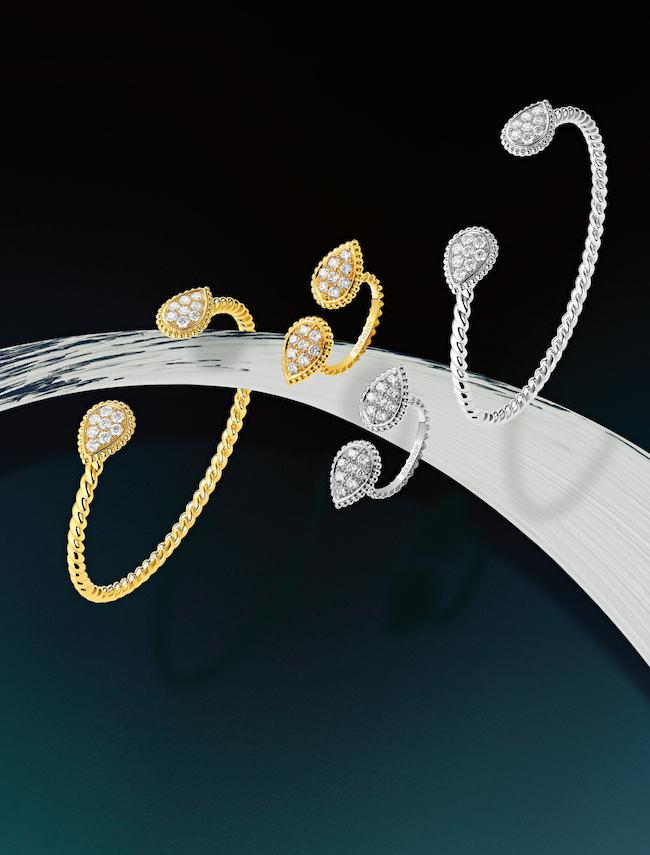 <右から>ブレスレット(WG×ダイヤモンド)¥1,054,545 リング(WG×ダイヤモンド) ¥772,727(YG×ダイヤモンド) ¥709,091 ブレスレット(YG×ダイヤモンド) ¥963,636/すべてBoucheron(ブシュロン クライアントサービス 0120-230-441)
