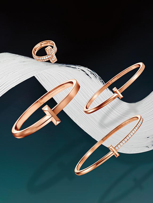 <左上から> リング(RG×ダイヤモンド) ¥615,000 バングル(RG) ¥650,000(RG) ¥395,000(RG×ダイヤモンド) ¥1,100,000/すべてTiffany & Co.(ティファニー・アンド・カンパニー・ジャパン・インク 0120-488-712)