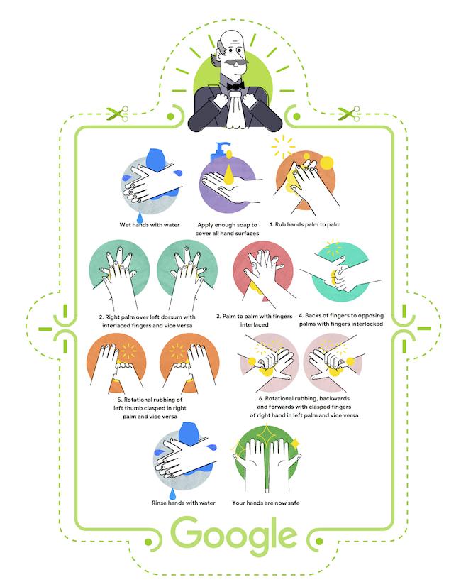 2020年3月20日、Googleのイラストロゴとともに公開された特設ページ(下記リンク)より、センメルヴェイスの肖像イラストをあしらった手洗い啓発ポスター。(via Google)