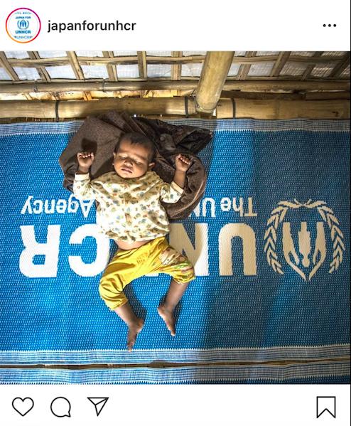 国連UNHCR協会Instagramより。ロビンギャ難民の赤ちゃん。