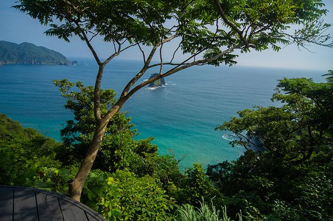 瑠璃色の海と緑に覆われた海岸線。人工物が視界に入ってきません。