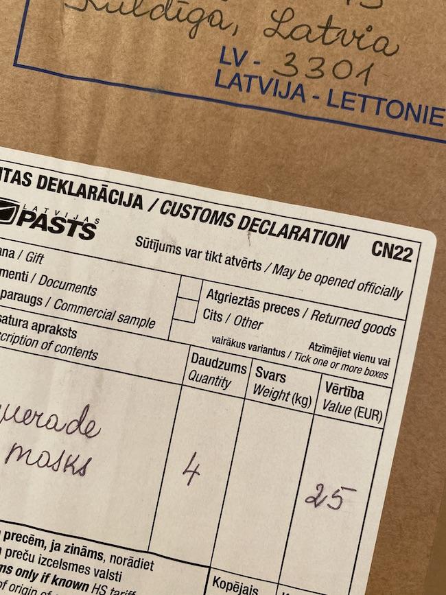 Latvijaの住所から、無事に到着