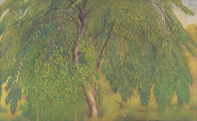 山口華楊 『葉桜』 1921年 絹本彩色 164.7×273.5cm