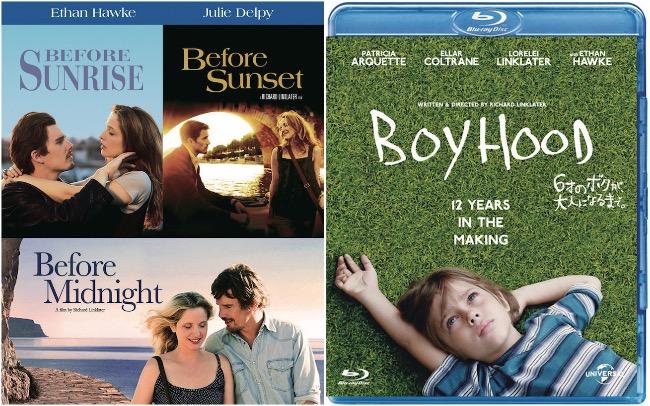 (左)『ビフォア・サンライズ/サンセット/ミッドナイト』【初回仕様】Blu-ray トリロジーBOX(3枚組)¥3,990発売中 発売・販売元:ワーナー・ブラザース ホームエンターテイメント ©2017 Warner Bros Entertainment Inc. All Rights Reserved.(右)『6才のボクが、大人になるまで。』Blu-ray ¥1,886発売中 発売・販売元:NBCユニバーサル・エンターテイメント ©2014 Boyhood Inc./IFC Productions, L.L.C. All Rights Reserved.