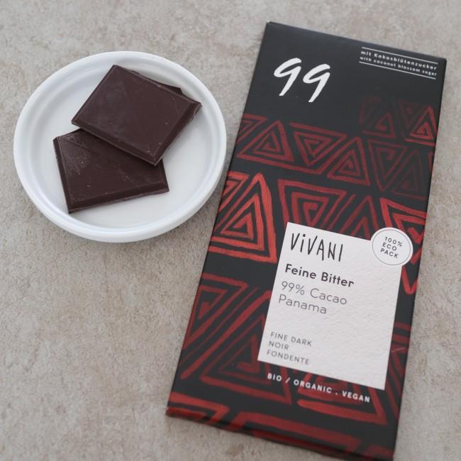 有機カカオを99%使用した究極のチョコレート。ドイツの老舗チョコレートメーカーのVIVANIは厳選されたカカオを使用したシンプルな味わい。低GI対応です。