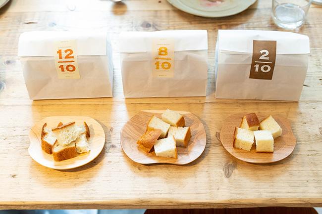 「12/10(ジュウニブン食パン)」¥460「8/10(ハチブン食パン)」¥470「2/10(ニブン食パン)」¥520