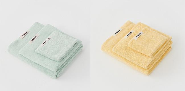 バスタオル(70cmx140cm)¥8,500 ゲストタオル(30cmx50cm)¥2,500 ウォッシュタオル(30cmx30cm)¥1,600/Tekla
