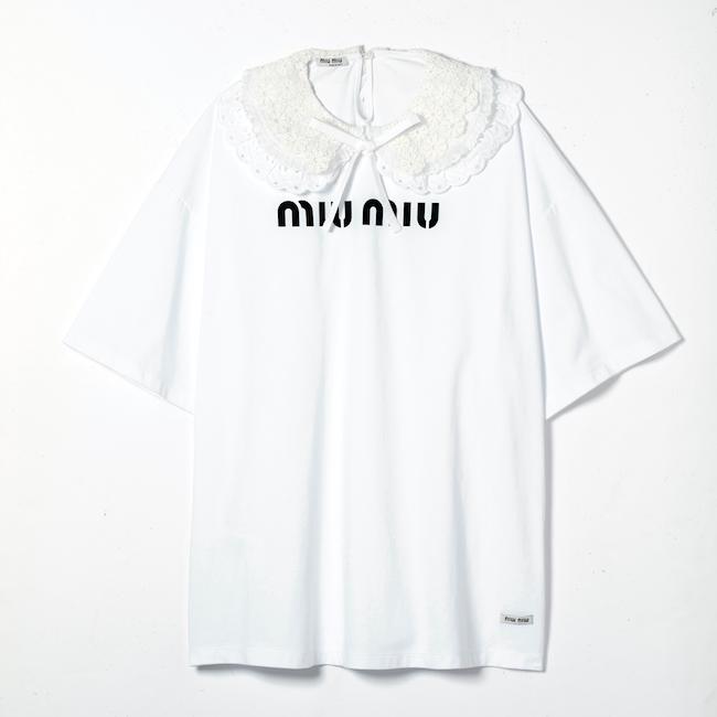レースカラー付きTシャツ ¥111,000(予定価格)/Miu Miu(ミュウミュウ クライアントサービス 0120-451-993)