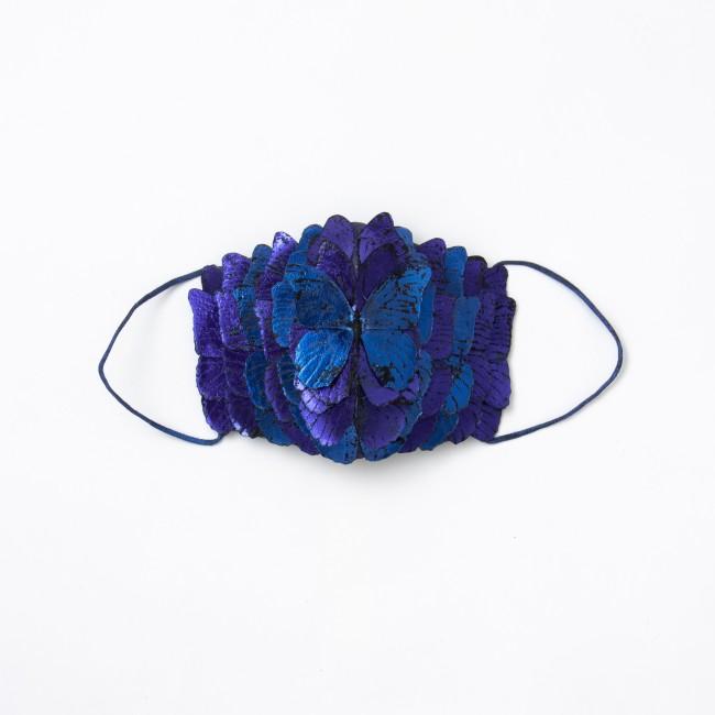 日本画家 坂本藍子作「コロナウィルスに打ち勝つよう幸運の青い蝶のマスクを作りました」