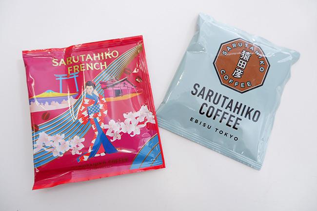 (左)猿田彦フレンチコーヒーバッグ(5枚入り)¥790(右)大吉ブレンド ドリップバッグ(5枚入り)¥640