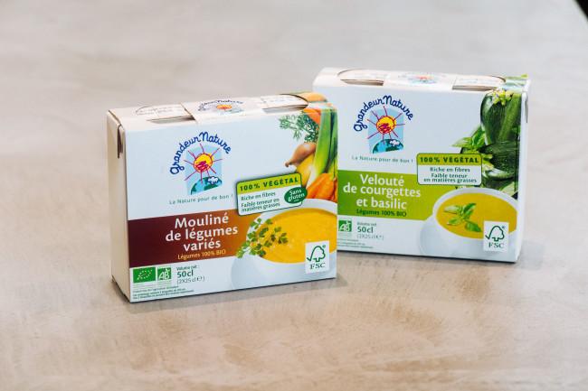 <右>グランダー ナチュール  ズッキーニとバジルのなめらかスープ <左>同  バラエティ野菜のコロコロスープ  各250ml×2 ¥698