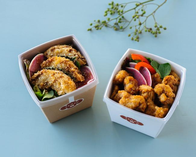 <右>黒酢風味のソイカラ丼 <左>ヘルシー車麩フライ丼 各¥700(玄米は+¥100)/ともにテンゾ