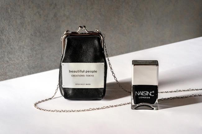 ネイルズ インク ブラック レザー コレクション キット ¥13,800 ブラック レザーネイルポリッシュ[14ml] チェーンミニレザーポーチ(W60×H110×D25cm)
