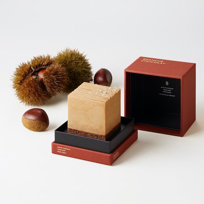 和栗のカレ・オ・ショコラ GIFT BOX(サイズ:縦6.5cm×横6.5cm×高6.5cm パッケージ:縦10.2cm×横10.2cm×高10.2cm)¥5,480 約2〜4名向け