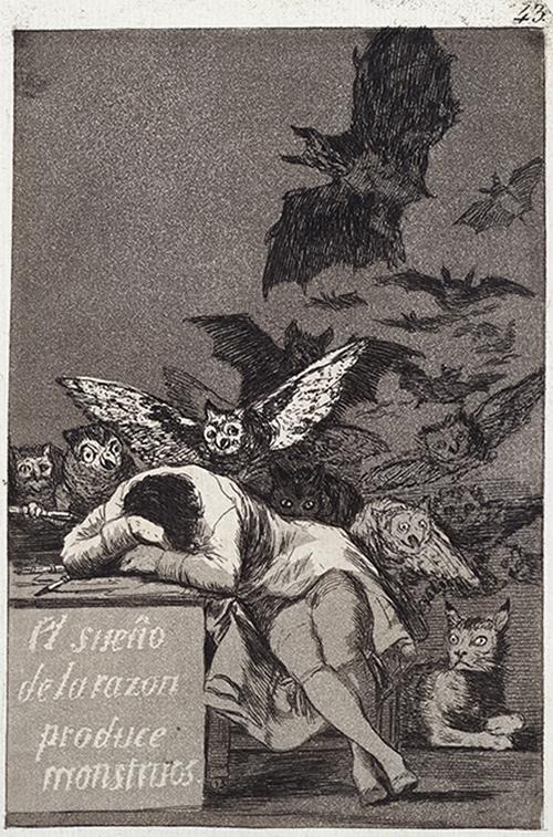 フランシスコ・ホセ・デ・ゴヤ・イ・ルシエンテス『「ロス・カプリーチョス」:理性の眠りは怪物を生む』 (1799年) 国立西洋美術館蔵