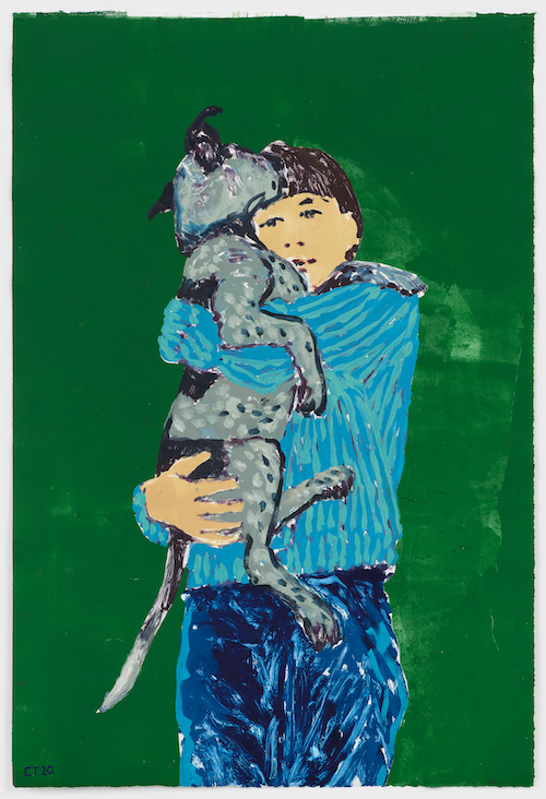 『Self – Portrait with George (Green)』 Photo: Marten Elder  Courtesy of the artist and PERROTIN