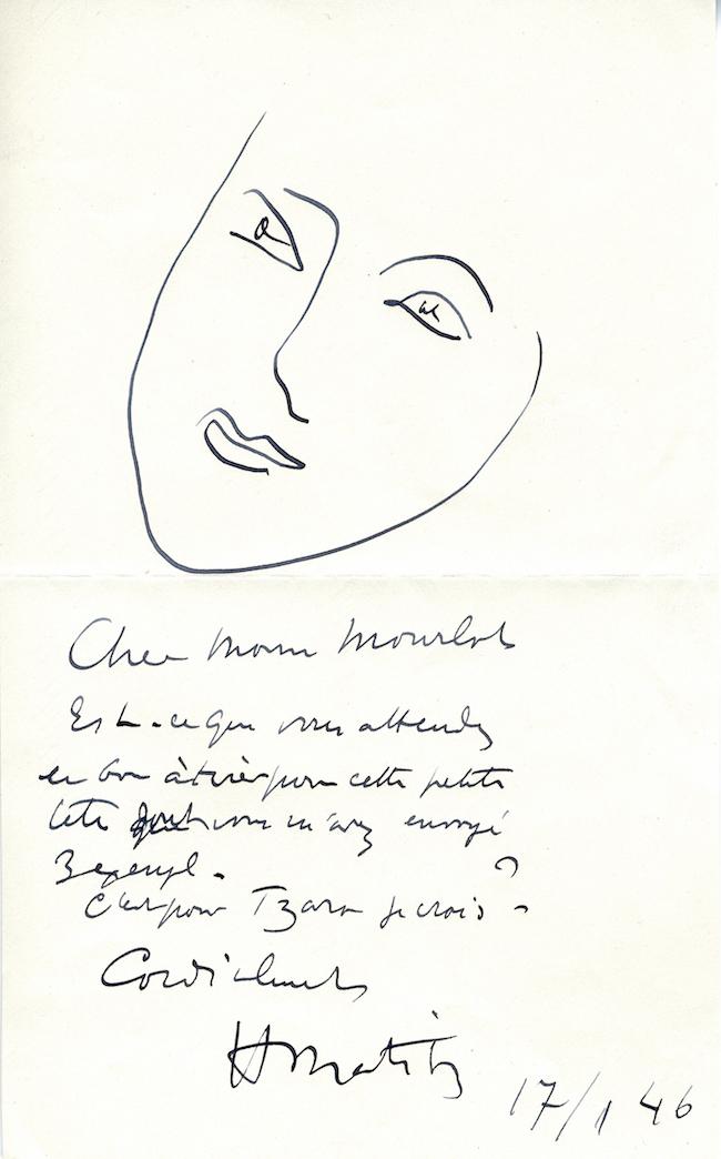 マティスがフェルナン・ムルロにあてた手紙 1946  Courtesy of Mourlot Editions