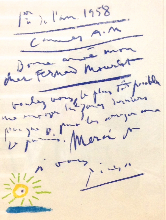 ピカソがフェルナン・ムルロにあてた年賀の手紙 1958  Courtesy of Mourlot Editions