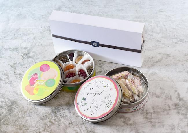 オリジナル缶入りパートドフリュイ&ヌガーセット ●個入りまたは●g入り¥2,916(税込)