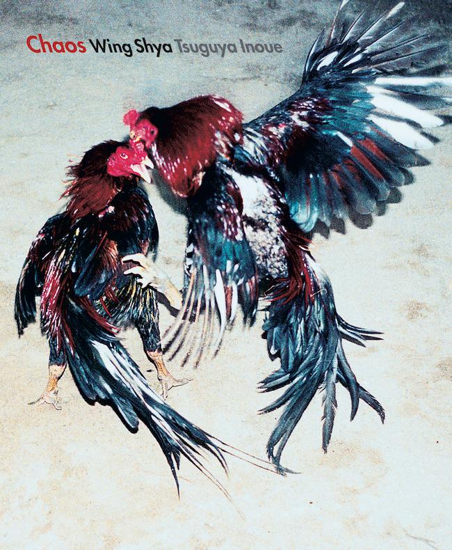 『Chaos』表紙。荒々しく対峙する闘鶏たちの姿が、表現者二人の交錯する魂を連想させる。
