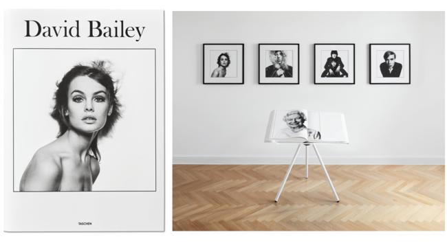 デヴィッド・ベイリーの写真集に付属するアートプリントは、オンラインでも閲覧可能。 ブックスタンドのデザインは、マーク・ニューソンによるもの