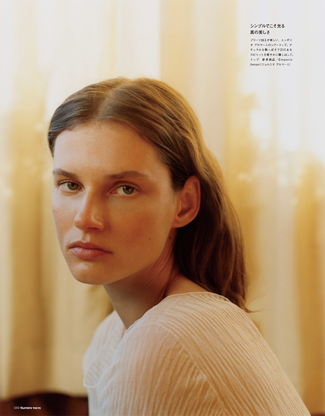 Ptotos : Ina Lekiewicz Stylist:Irene Barra Hair & Makeup:Ingeborg Model:Giedre Dukauskaite at Elite New York City Casting:Monika Domarke Production:Francesca Valente at 2DM Management Photographer Assistant:Nate the Carlo Stylist Assistant:Diana Choi Production Assistant:Zach Ranson Edit & Text:Midori Oiwa