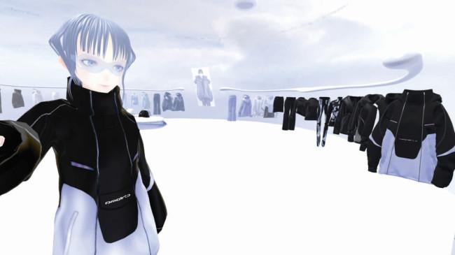 鈴木淳哉と佐久間麗子によるファッションレーベル「chloma」〈※2〉。2020年5月、仮想空間アプリ「VRChat」内に開設したヴァーチャルストアで、実在の服と同じデザインを展開。画像はアバターによる同ストア内での試着の様子。