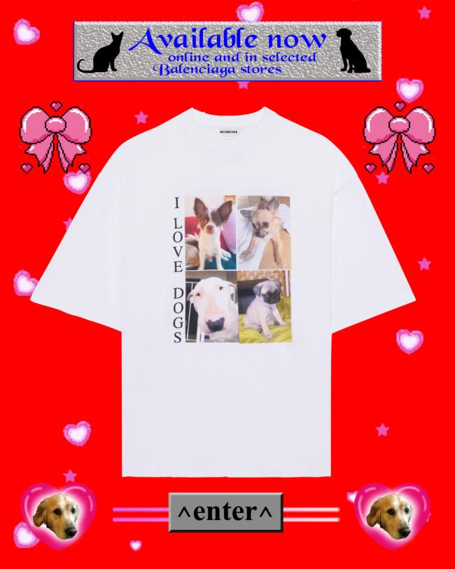 バレンシアガ の「I LOVE PETS」Tシャツ